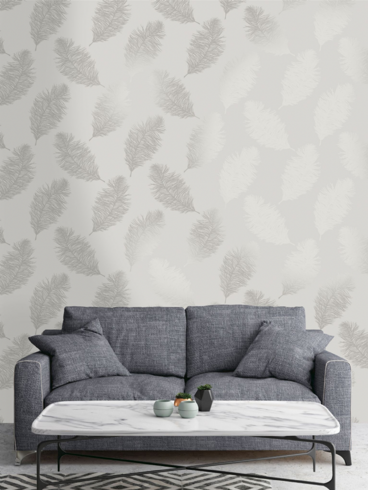 Holden Decor Fawning Feather Grey/Silver 12626 Wallpaper